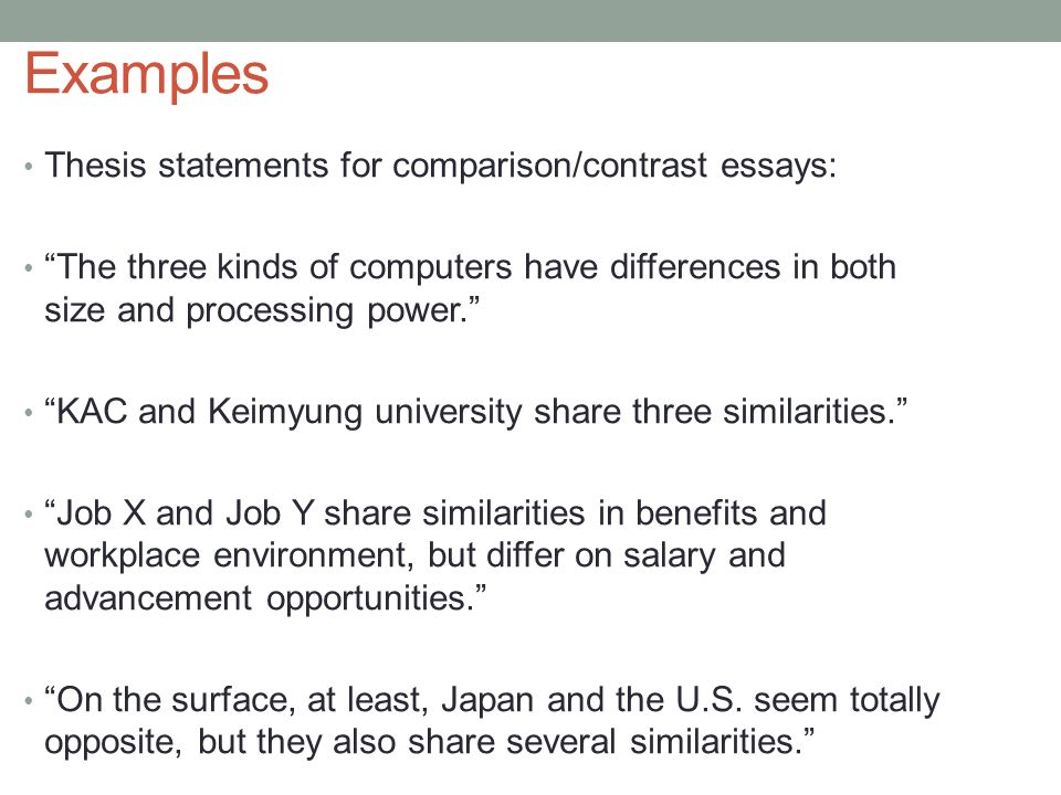 good comparative essay thesis Good attention getters for essays with examples updated on october 1, 2018 dr poeta diablo more  having a good attention getter for an essay is absolutely crucial on average, people only read the first 2 sentences before deciding if your essay will be an interesting read or a chore  a contrast essay, also known as a comparative.