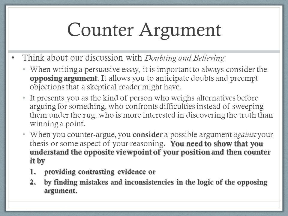 How To Write A Counter Argument Example