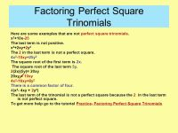 100+ [ Factoring Perfect Square Trinomials Worksheet ...