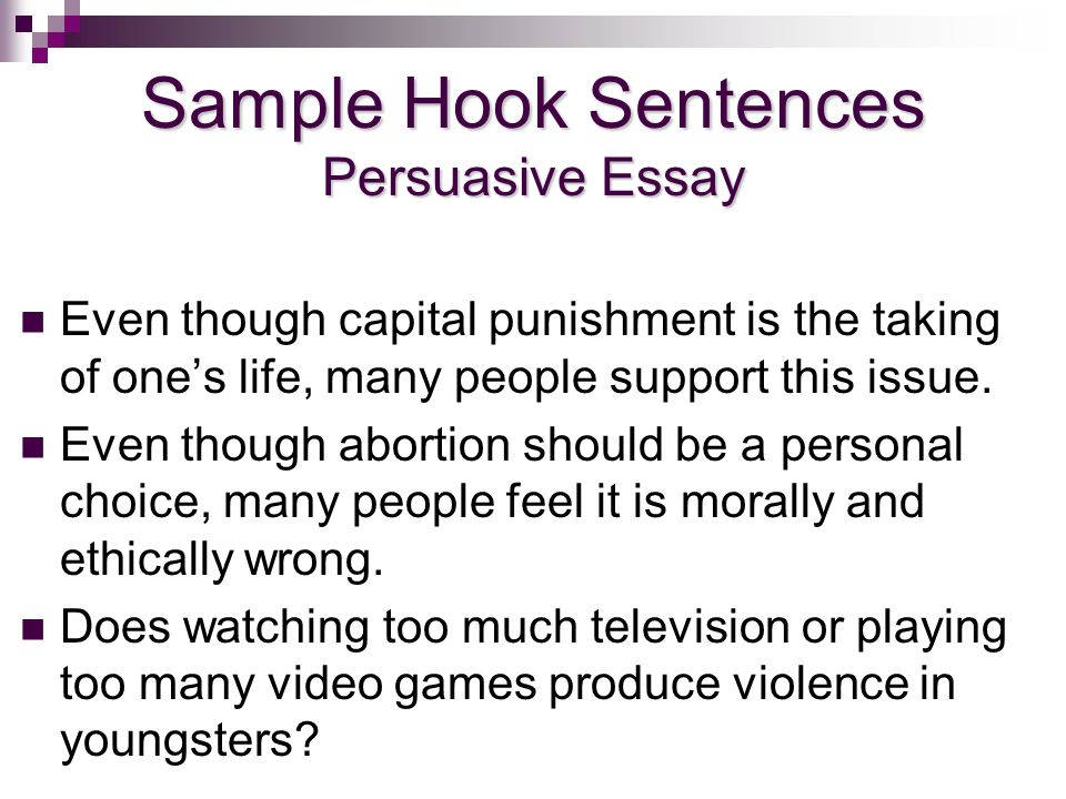 Good hook sentences for persuasive essays about abortion Homework