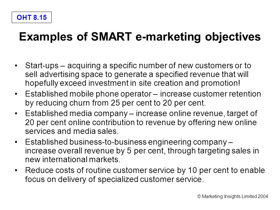 E-marketing - ppt video online download - marketing objective example