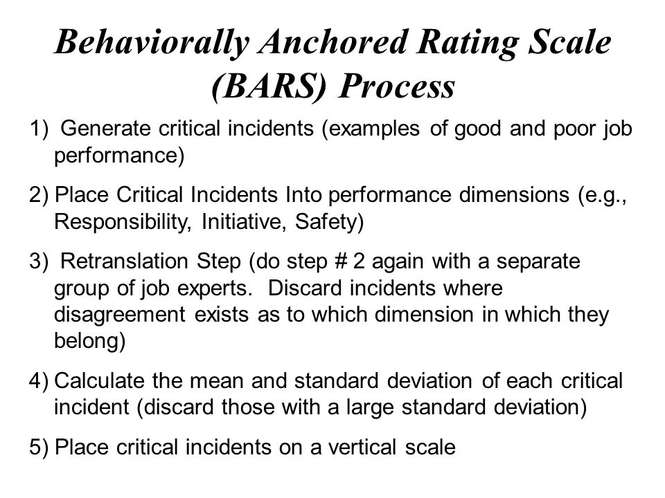 Behaviorally Anchored Rating Scale Bars Free Essays