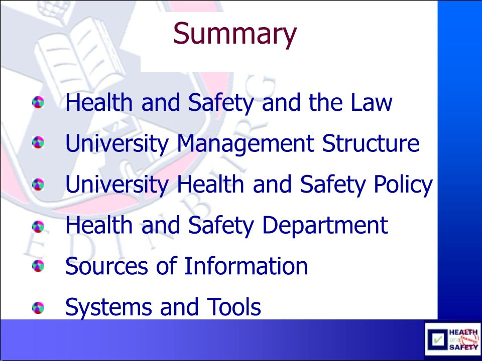1 1 outline the health and safety policies and procedures of the