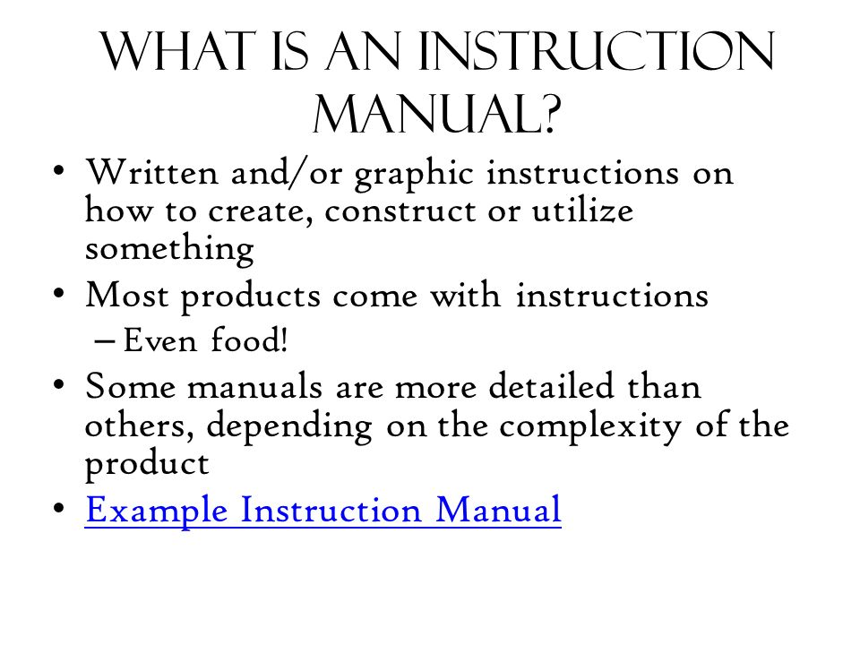 Making an instruction manual - ppt video online download - instruction manual