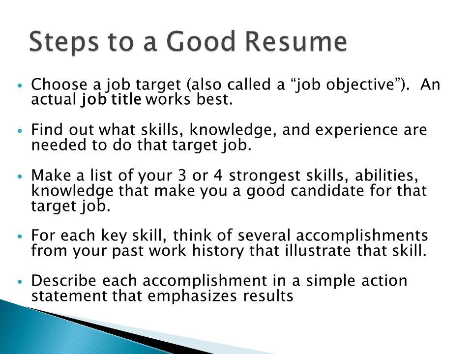 list job title in resume