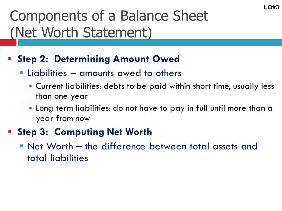 Learning Objective # 3 Develop a personal balance sheet and cash - components of balance sheet