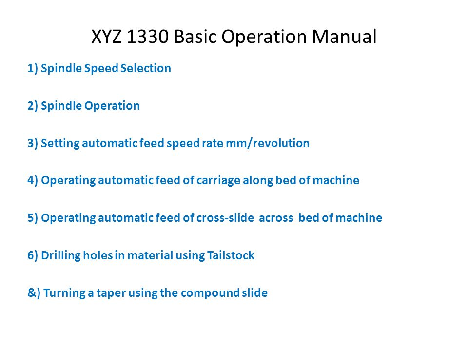 XYZ 1330 Basic Operation Manual - ppt video online download - operation manual