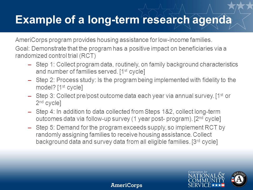Using Evaluation Results and Building a Long-Term Research Agenda - sample research agenda