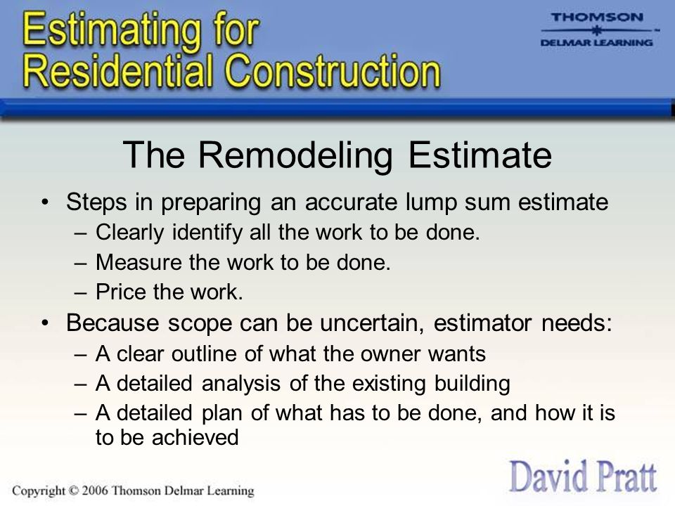 Chapter 13 Estimates for Remodeling Work - ppt download - remodeling estimate