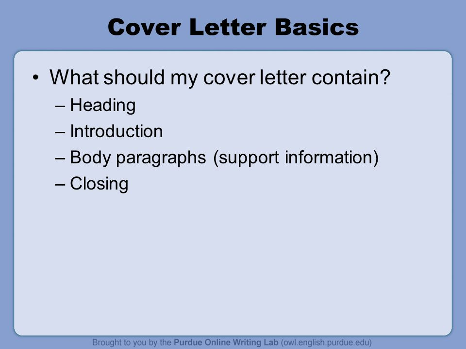 Cover Letter Workshop Rationale Welcome to the u201cWorkOne Job - what should a cover letter contain