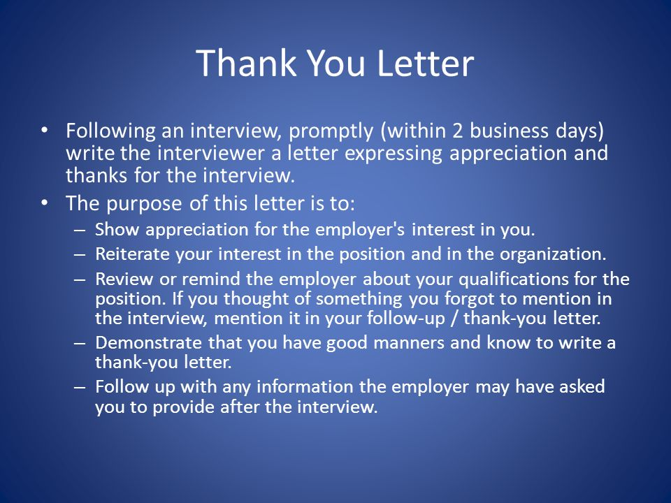 how to write a interview thank you letter
