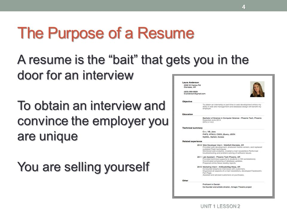 Resume Naviance Family Connection - ppt video online download - purpose of a resume