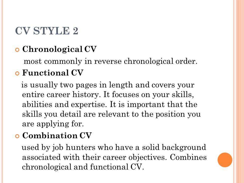 Curriculum vitae reverse chronological order