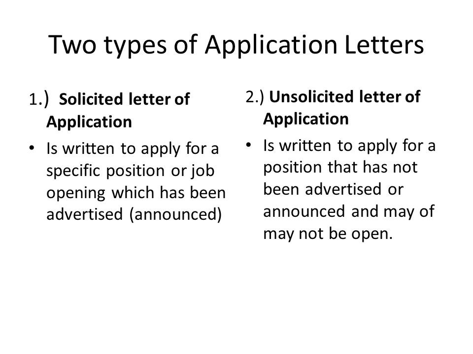 Application letter for a job that has not been advertised - application letters