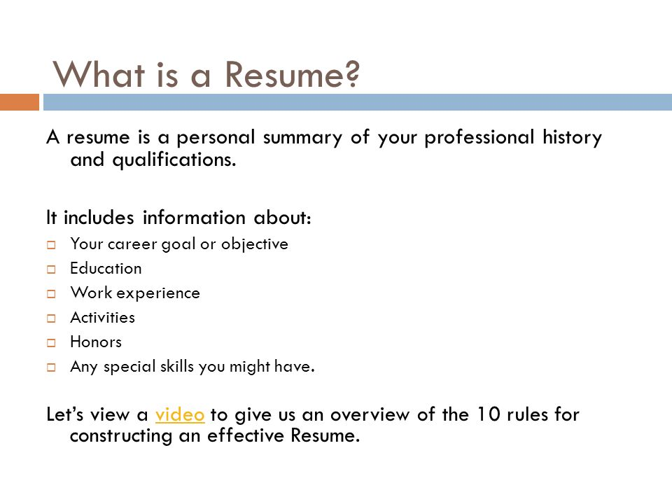 For VPS High School Students - ppt download - constructing a resume