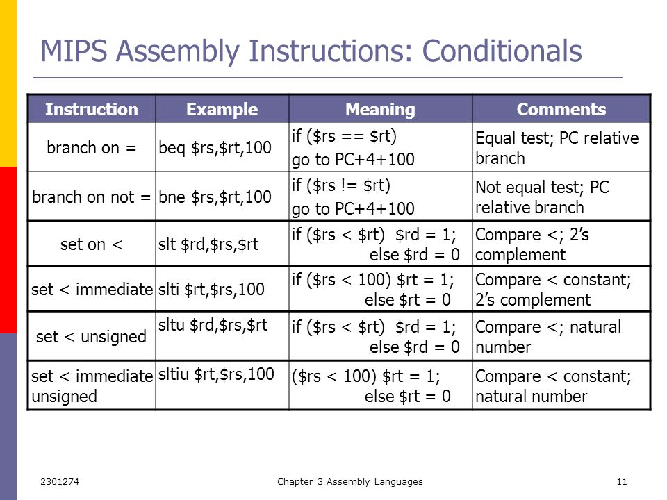 Assembly Language Example Branch