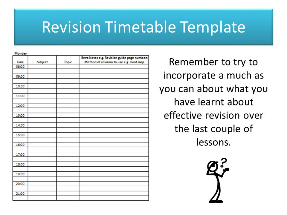 revision timetable template gcse - Apmayssconstruction
