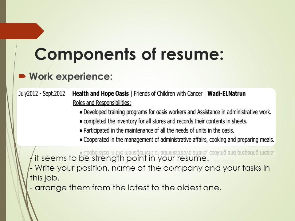 resume components - Ozilalmanoof - resume components