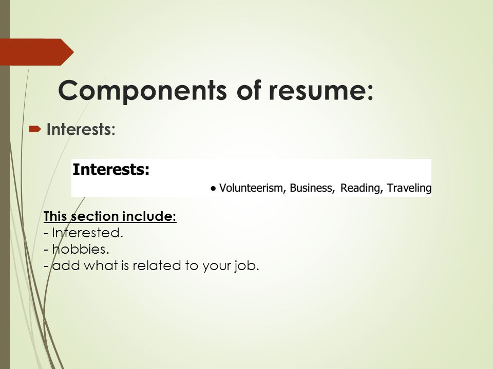 Resume Interests Section  Resume Interests