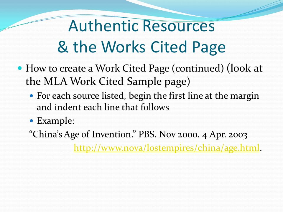 Work Cited Page Help