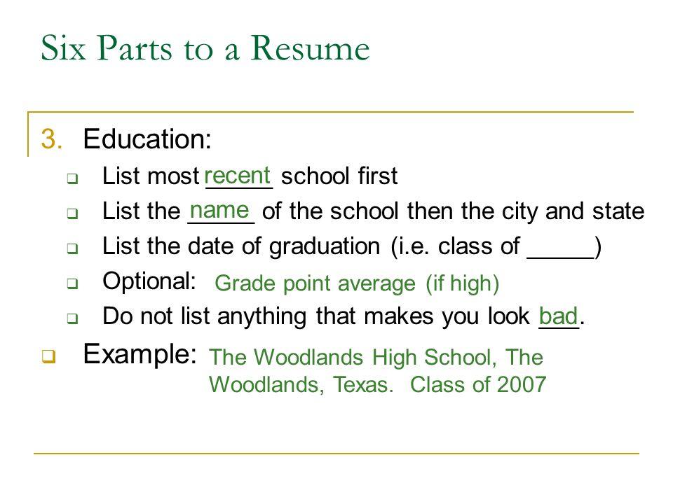 education example resume