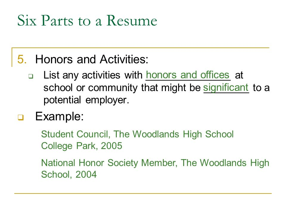 resume honors and activities examples