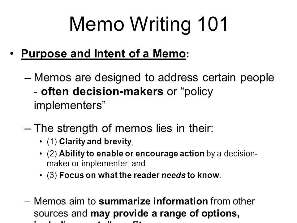 Introduction to Professional Memo Writing - ppt video online download - Professional Memo Template