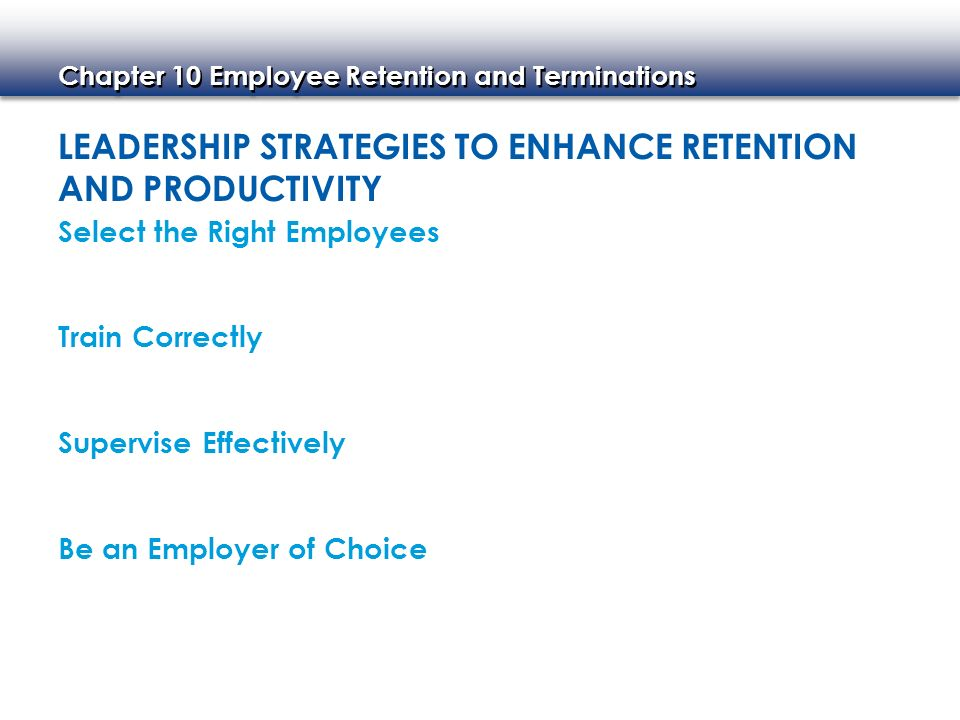 staff retention strategies in the workplace A final tip: remember to assess your employee retention strategies at least once a year you'll want to stay current on market salary rates and benefits, and best practices in developing workplace culture and manager-employee relations doing so will help you keep staff morale high and turnover low while guaranteeing your organization's success.