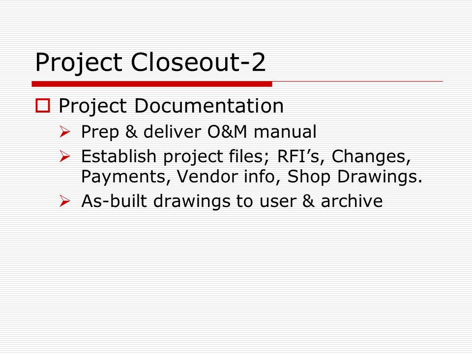 Project Close Out Template Planning Engineer Est