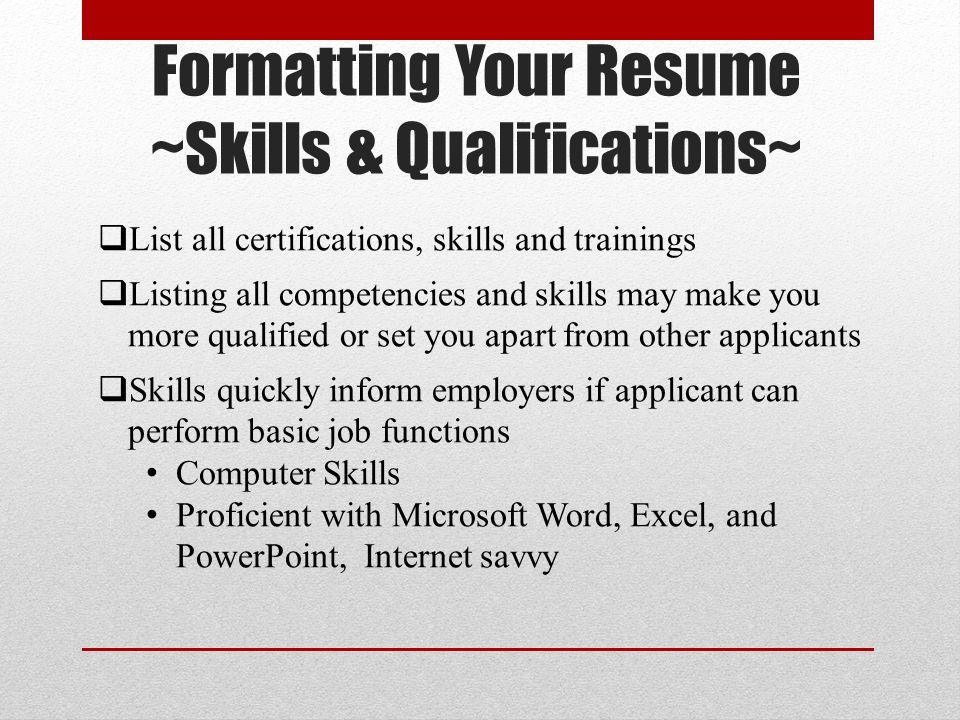 resume qualifications list