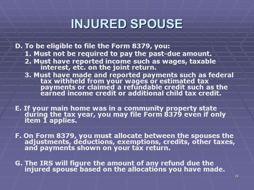 Liberty Tax Service Online Basic Income Tax Course Lesson ppt - injured spouse form