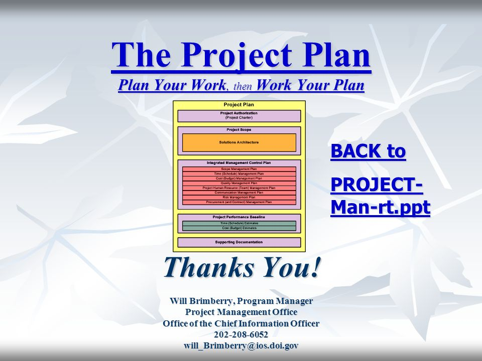 The Project Plan Plan Your Work, then Work Your Plan - ppt video - project plan