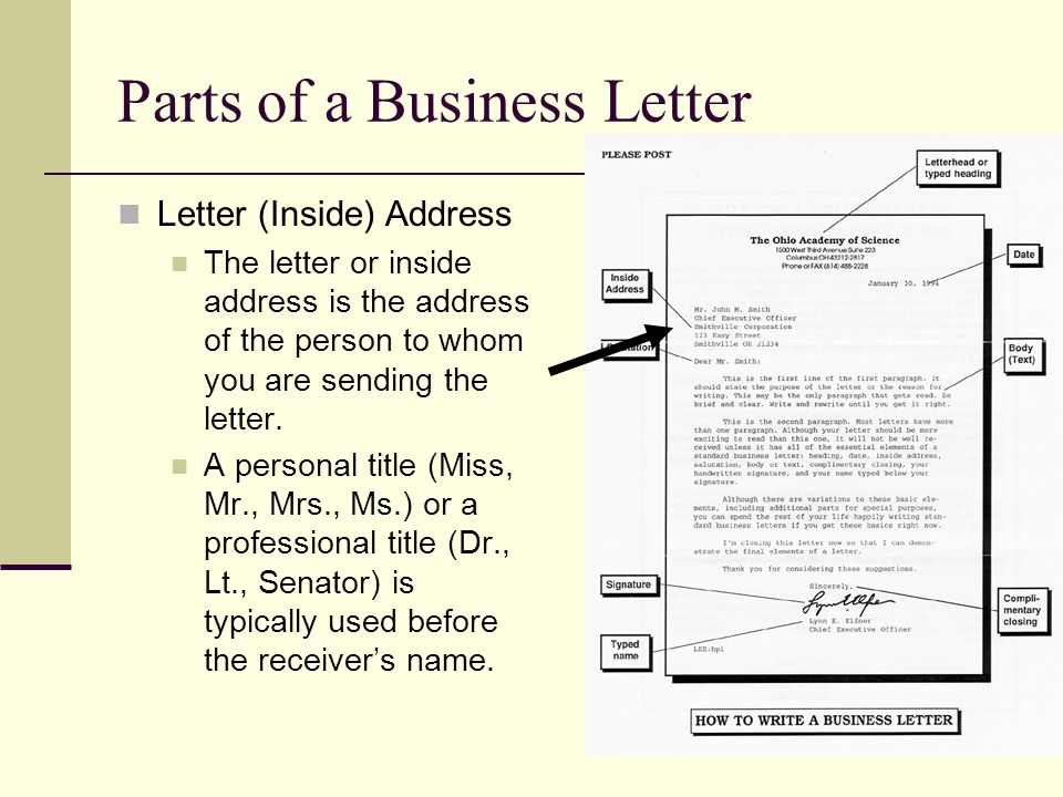 Essential parts of a business letter College paper Writing Service - parts of a business letter