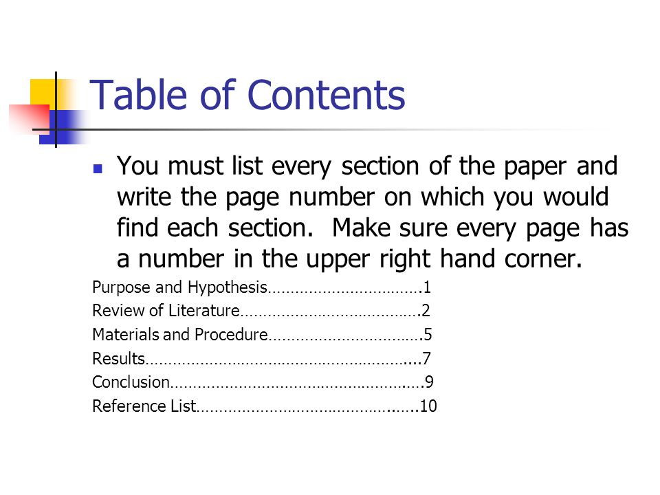 Science project research paper table of contents Term paper Service - science project research