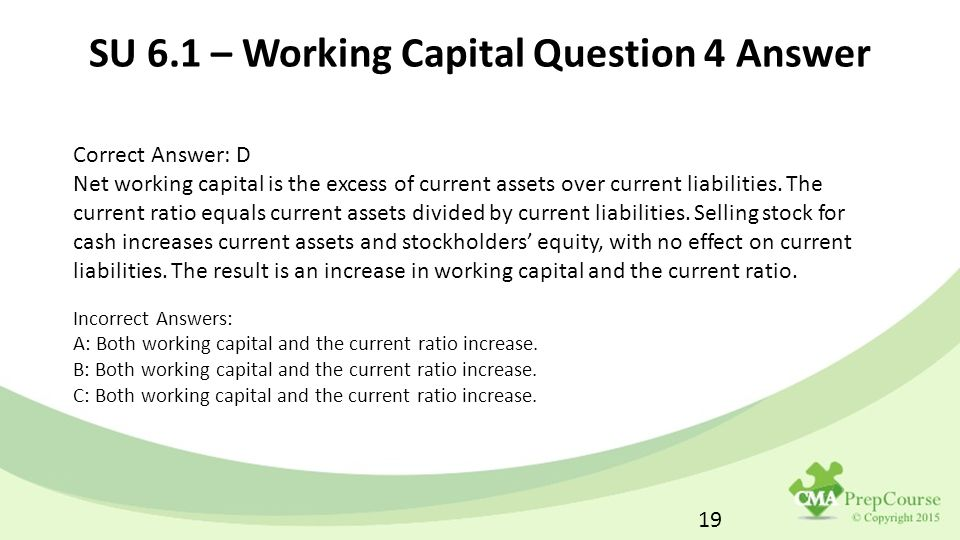 CMA Part 2 Financial Decision Making - ppt download - working capital equation