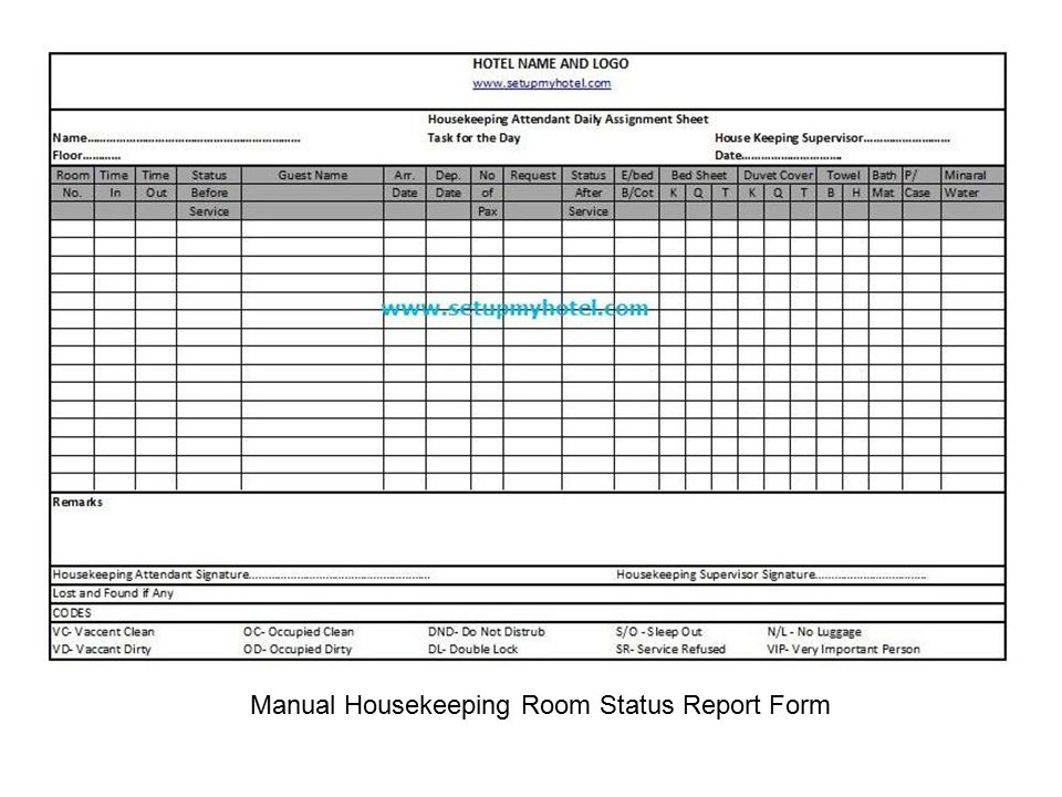 housekeeping form - Baruthotelpuntadiamante - daily assignment sheet