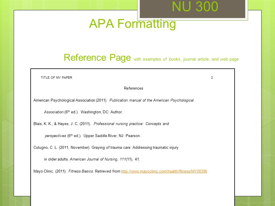 apa title page formatting