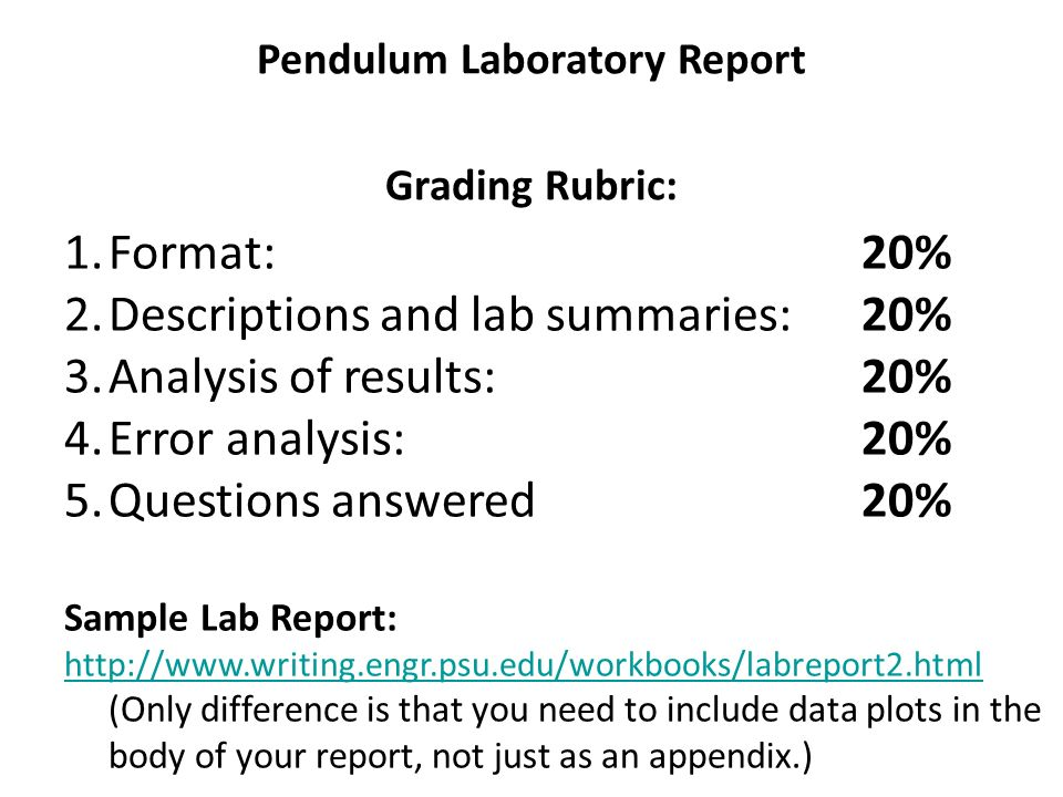 Pendulum Lab \u2013 Model Data Tables - ppt download