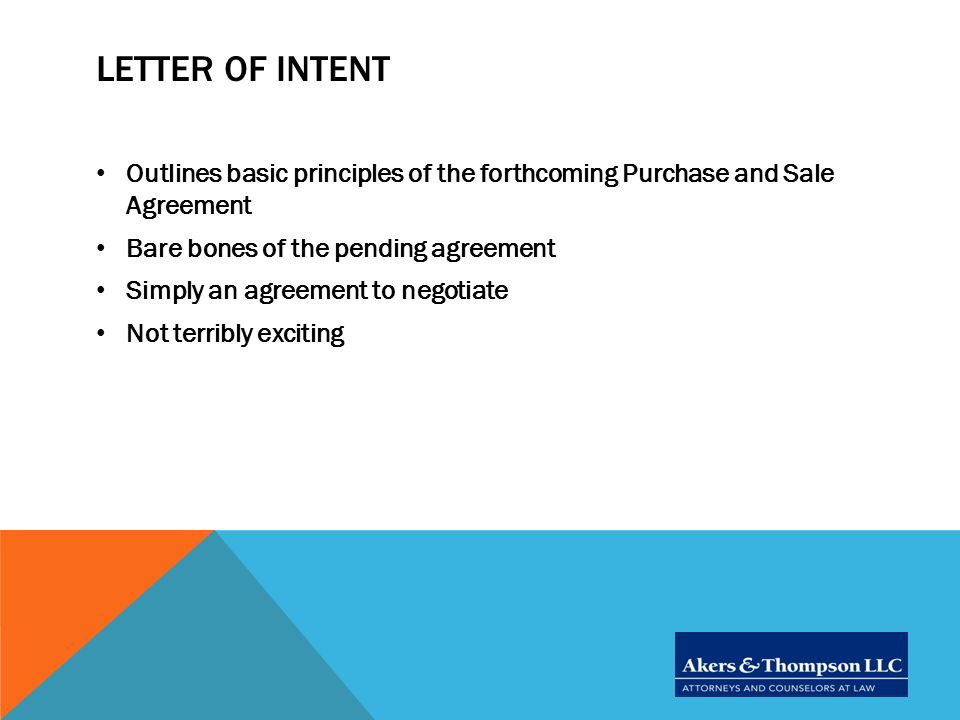 DUE Diligence Review Letter of Intent and Beyond - ppt video - letter of intent to purchase goods