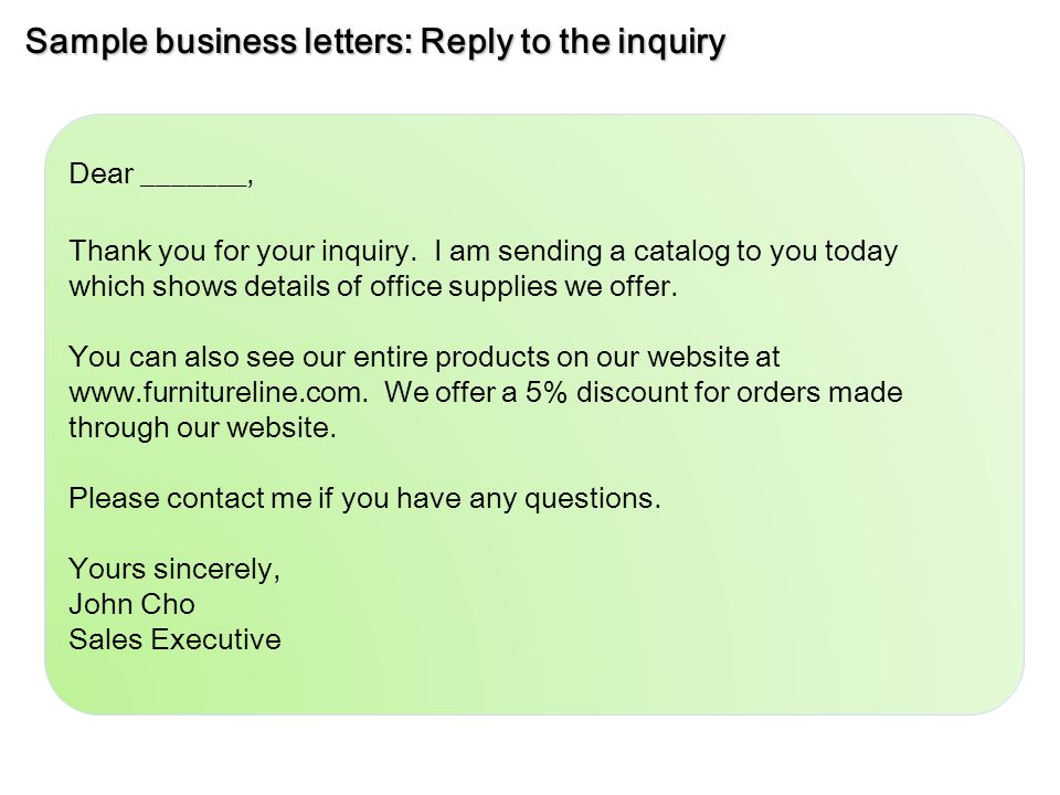 inquiry letter for business – Business Inquiry Letter Sample