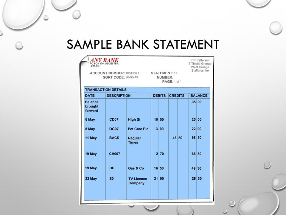 Reconcile a Bank Statement - ppt video online download - sample bank statement