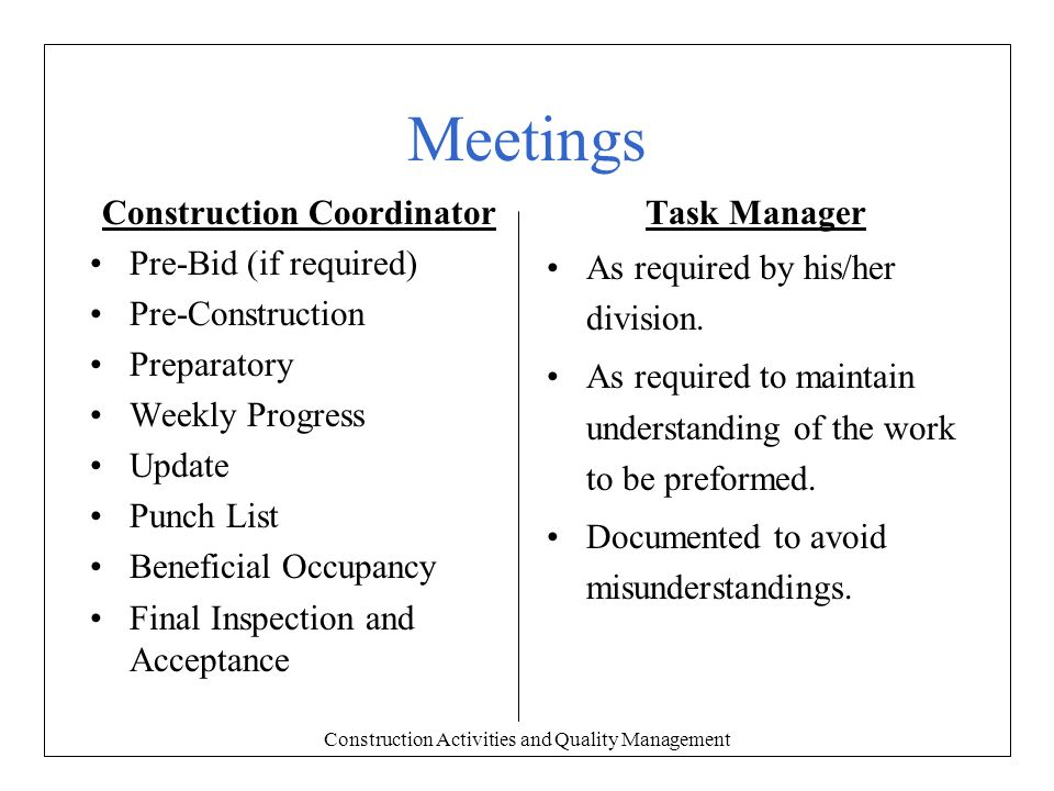 Construction Activities and Quality Management - ppt download