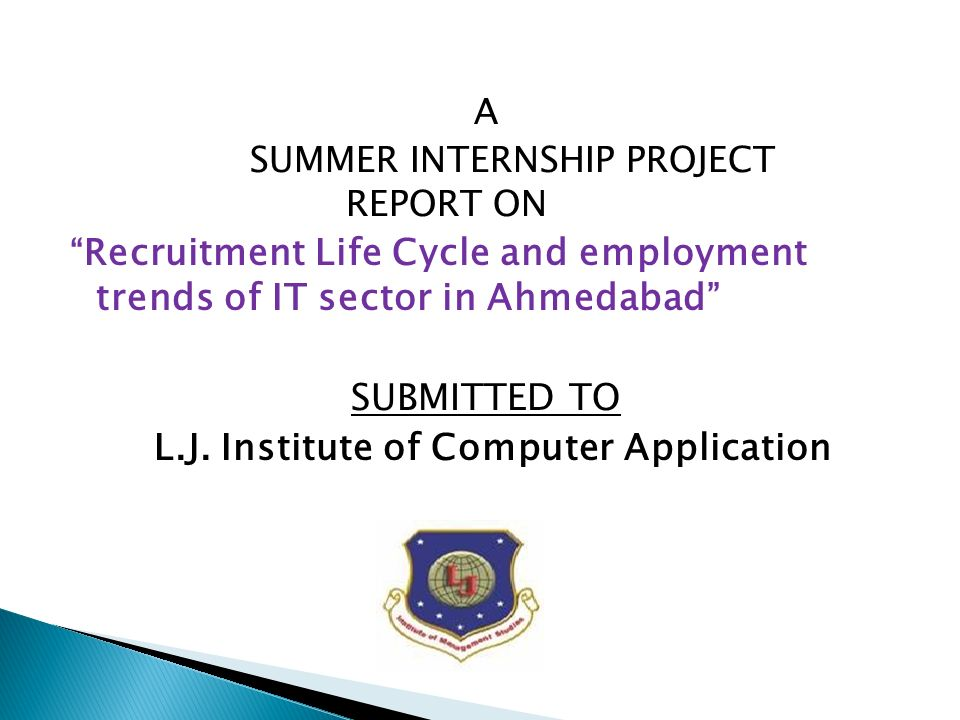 SUBMITTED TO A SUMMER INTERNSHIP PROJECT REPORT ON - ppt video