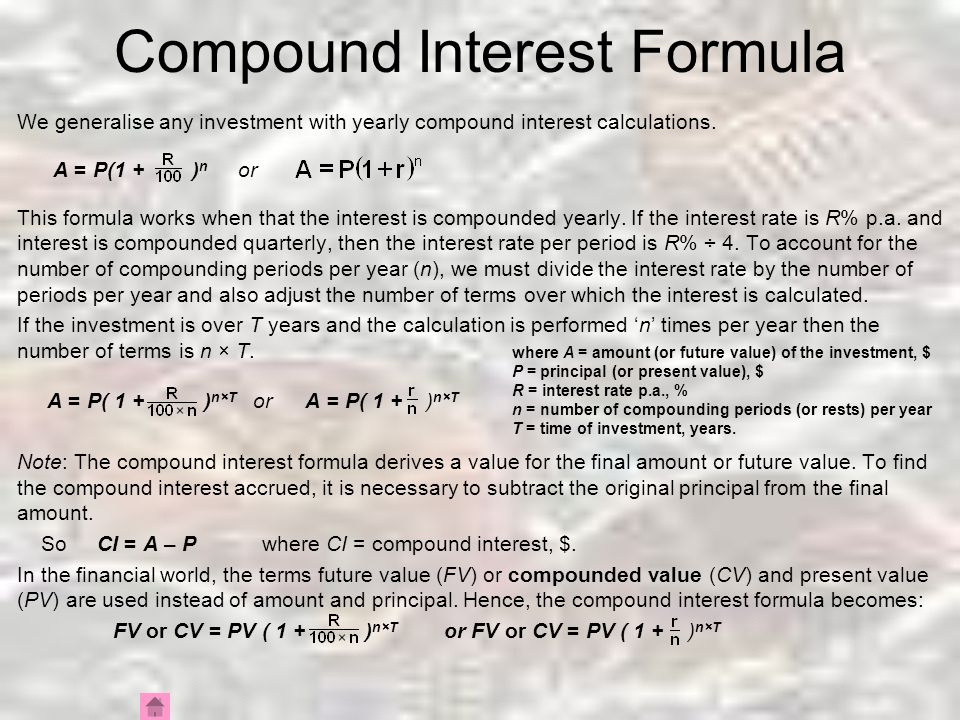 Compound Interest Compound Interest Formula Rearranging for P and r