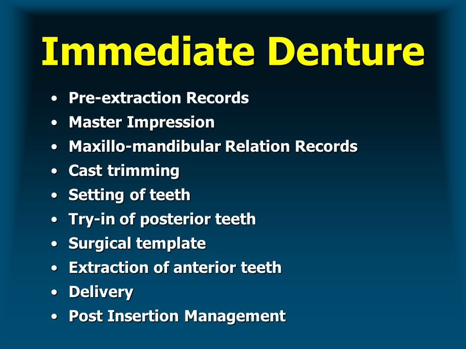 IMMEDIATE COMPLETE DENTURES - ppt video online download
