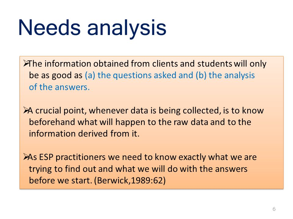 Needs analysis and evaluation Advisor  Dr Patricia Su Presenter