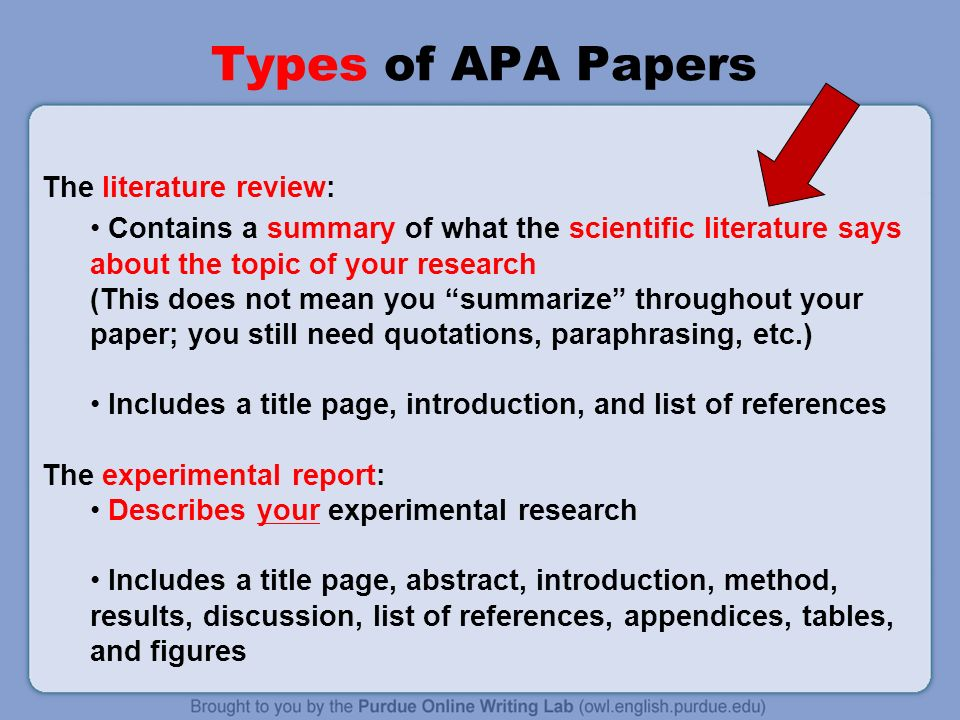 Literature Review Summary Table Apa