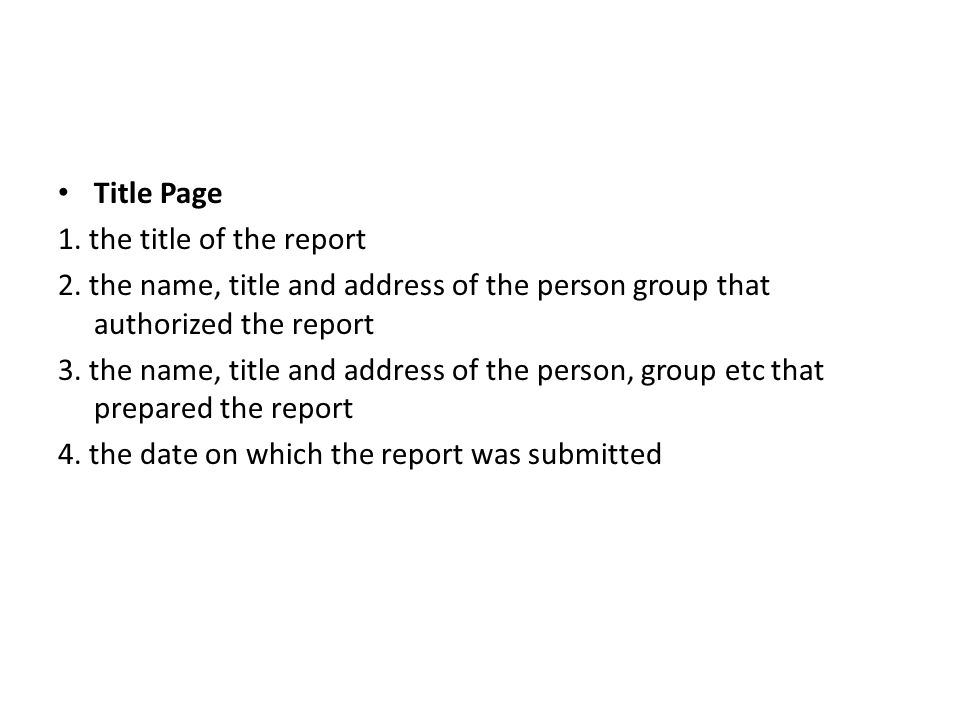 Report Format 1st part Title fly Title page Letter of Transmittal - the report format
