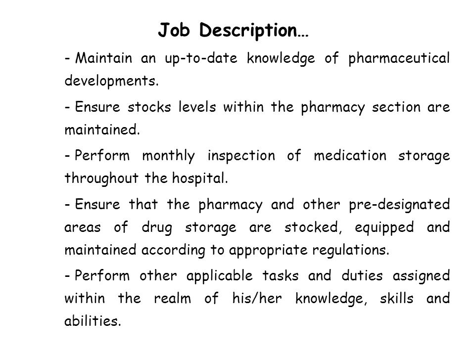 Pharmacist Job Description Salary and Skills - oukasinfo - pharmacist job description