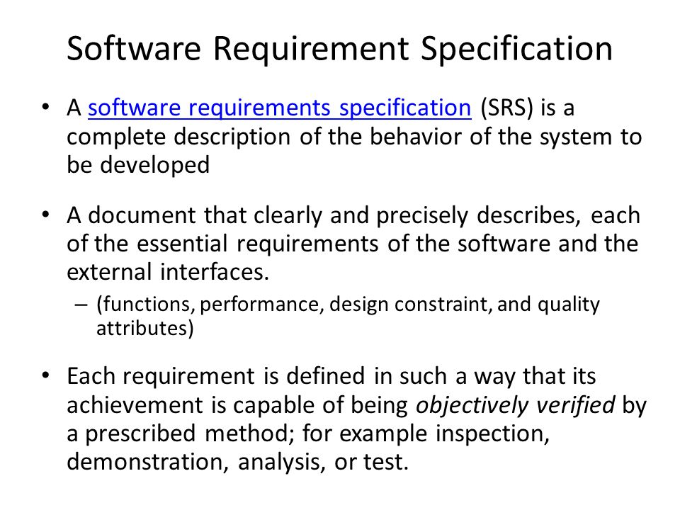 Software Requirements Analysis and Specification - ppt download